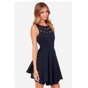 Lulus Flirting with Danger Cutout Navy Blue Dress